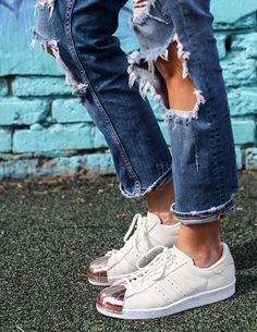 reputable site 02caa f56f2 Rose gold cap toe Adidas sneakers with distressed denim.  Rad Mom Street  Style