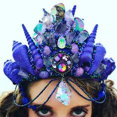 Sale item now over Off. Beautiful Purple Amethyst Crystals engulf this Moonbeam crown. Seashells and crystals galore. Mermaid Outfit, Mermaid Makeup, Seashell Crown, Shell Crowns, Mermaid Crafts, Festival Gear, Mermaid Crown, Mermaid Jewelry, Divas