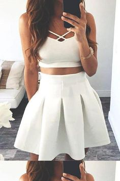 Hot Sale Splendid Homecoming Dress Two Piece, Short Prom Dress, Cute Homecoming Dress, White Prom Dress Homecoming Dresses 2017, Two Piece Homecoming Dress, Prom Dresses Two Piece, Cute Prom Dresses, Dress Prom, Party Dress, Two Piece Short Dress, Two Piece Outfit, Two Piece Dress Casual
