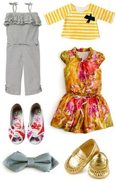 {left to right, top to bottom: roxy little girls romper, smallable striped tee, j.crew girls dress, giga & zaza shoes, j.crew boy's tie, and trumpette metallic mocs}