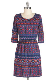 Post-Siesta Fiesta Dress - Blue, Multi, A-line, 3/4 Sleeve, Print, Casual, Jersey, Mid-length, Rustic, Fall