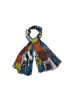 KUMPALA Scarf - spring collection 2015 www. Scandinavia Design, Semi Annual Sale, Black And White Background, Large Scarf, Marimekko, Abstract Print, Spring Collection, Graphic Prints, Travel Style