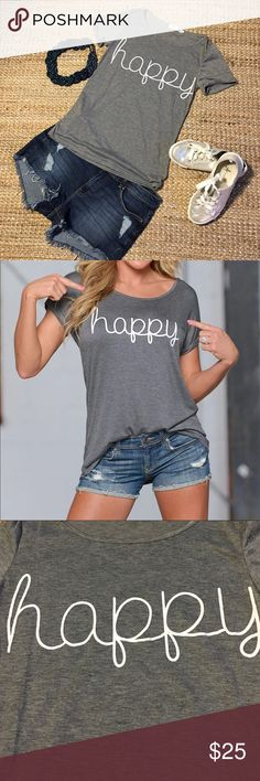 Don't worry 😉 be happy 🎶Tee Polyester Tops Tees - Short Sleeve