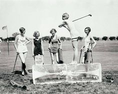 Vintage photo golf golfing print vintage sports photograph gift for golfer gift 1920s girls women block of ice poster We are a professional interior graphic design business specializing in curating unique unusual vintage historical images and designing large scale graphic interior