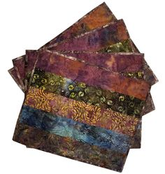 Quilted Placemats in Natural Shades of Blues, Browns and Mauve Batik by Sieberdesigns on Etsy