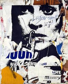 Jacques Villeglé is a French mixed-media artist famous for his alphabet with symbolic letters and collage with ripped or lacerated posters. Art Du Collage, Mixed Media Collage, Collage Ideas, Mix Media, Nouveau Realisme, Illustrations, Illustration Art, Modern Art, Contemporary Art