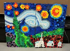 Remember this awesome recycled bottle cap mural created by Holly and her kiddos?, we stumbled across another fabulous example of what happens when you add art and. Plastic Bottle Caps, Reuse Plastic Bottles, Bottle Cap Crafts, Plastic Recycling, Plastic Waste, Auction Projects, School Art Projects, Recycled Art Projects, Craft Projects