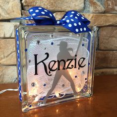 Softball GemLight, Gifts for Softball, Softball Coach Gifts, Fast Pitch Softball, Sports Decor, Personalized