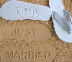 JUST MARRIED Sandals Sand Imprint Wedding & by SandImprintSandals, $24.95