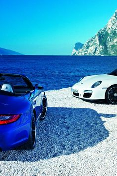 Blue and White Porsche Carrera GTS