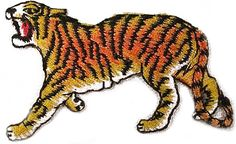 """Amazon.com: [Single Count] Custom and Unique (2.7"""" x 1.8"""" Inch) """"Animal"""" Wild Vicious Roaring Jungle Thai Prowling Tiger Cat Design Iron On Embroidered Applique Patch {Orange, Yellow & Black Colors}"""