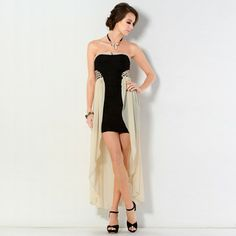 Strapless Chiffon Panel High Low Dress from #YesStyle <3 YesStyle Z YesStyle.com