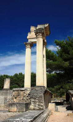 Roman ruins in the city of Glanum, Provence, France