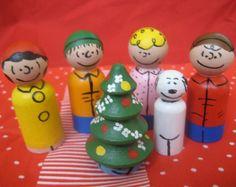 A Charlie Brown Christmas peg doll set - 6 pegs (Limited Edition). $32.00, via Etsy.