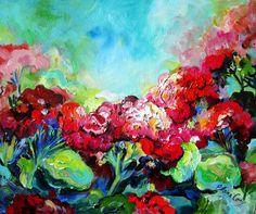 Landscape Painting Original Art Geraniums 16 x by ElainesHeartsong