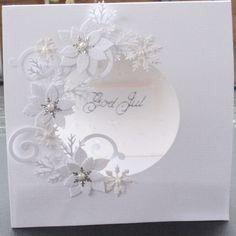 white on white poinsettia border circle die cut card - bjl