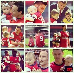 Arsenal players with their mini Gooners. Arsenal Players, Arsenal Fc, Dennis Bergkamp, One Team, Football Team, Soccer, Baseball Cards, Sports, Goals