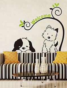 Wall Stickers veggen dekaler stil tegneserie hund katt pvc vegg klistremerker