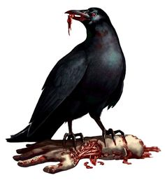Crow and zombie hand from Resident Evil 2