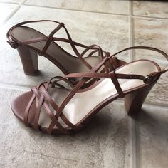 """Tan caramel strappy heels crisscross 7.5M sandals Pre owned in great condition. Size 7.5M. Hells 3"""". Ann Taylor Shoes Heels"""