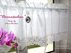 Gardinen - Gardine Rose French Shabby Chic Spitze Medaillon - ein Designerstück von christa-123 bei DaWanda
