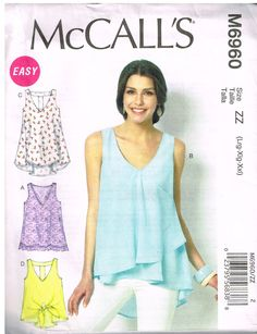 McCall's M6960, Sewing Pattern, Women's Tops and Tunics, Size Lrg, Xlg, Xxl, Plus Size by OhSewWorthIt on Etsy