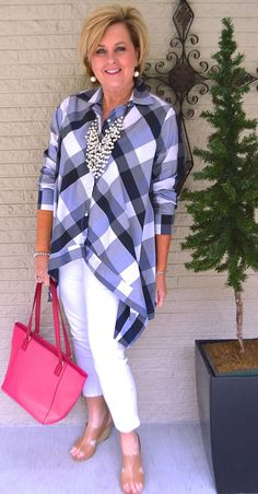 50 IS NOT OLD | A CRISP LOOK | Navy & White | Check pattern shirt | White jeans | Fashion over 40 for the everyday woman