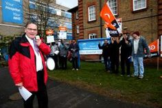 Protesters outside Watford General Hospital