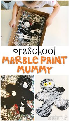 Preschool: Halloween These marble paint mummies turned out so cute. Great quick craft for Halloween in tot school, preschool, or even kindergarten! Mummy Crafts, Halloween Arts And Crafts, Halloween Crafts For Toddlers, Halloween Crafts For Kids, Halloween Themes, Preschool Halloween Activities, Halloween Halloween, Fall Toddler Crafts, Halloween Art Projects