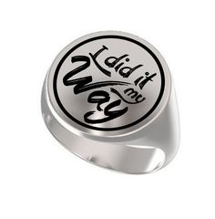 Frank Sinatra I Did It My Way Engraved Round 925 Sterling Silver Signet Ring