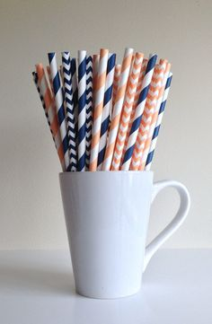Paper Straws - Peach and Navy Striped and Chevron Party Straws Birthday Wedding Baby Shower Bridal Shower Mason Jar Straws Mix
