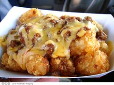 Sonic Chili Tator Tots at Home - Cook a bag of tator tots....put in dish and add a can of chili and a jar of queso/cheese....oh yummy!