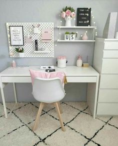 Girl Bedroom Designs, Room Ideas Bedroom, Bedroom Decor, Study Room Decor, Cute Room Decor, Home Office Design, Home Office Decor, Home Decor, Pink Office Decor