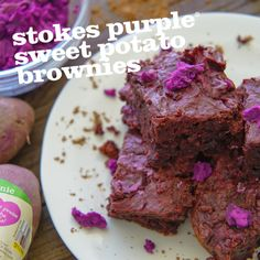(Replace with ube?) Stokes Purple® Sweet Potato Brownies with Purple Buttercream Frosting These decadent brownies have a secret—they're made with Stokes Purple® sweet potatoes! Not only are they luscious, they're also… Sweet Potato Buns, Sweet Potato Brownies, Sweet Potato Recipes, Ube Dessert Recipe, Dessert Recipes, Ube Recipes, Baking Recipes, Crinkles Recipe, Purple Sweet Potatoes