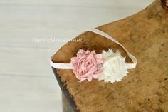 Dusty Pink Ivory Shabby Rose Flower Baby Girl by ThePickledPeanut