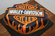 This is a chocolate cake with bavarian creme filling made for a gentleman who just bought his first harley.