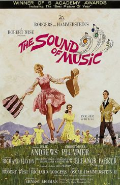 Reprinted movie poster for The Sound of Music starring  Julie Andrews, Christopher Plummer, Eleanor Parker from 1965. 11 x 17 inches