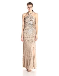 Adrianna Papell Womens Halter Gown with Key Hole ChampagneGold 4 >>> You can find out more details at the link of the image.