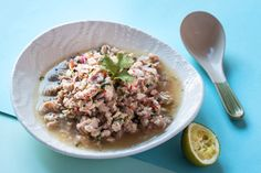 Larb gai Thai chicken mince recipe, Bite – This fresh spicy salad is a great place to start if youamprsquore new to cooking Thai - Eat Well (formerly Bite) Gluten Free Rice, Gluten Free Chicken, Healthy Chicken Recipes, Larb Gai, Cooking Jasmine Rice, Thai Chicken, Chicken Meals, Mince Recipes, Sweet Chilli Sauce