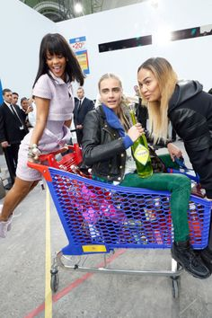 This Happened: Rihanna Pushed Cara Delevingne Around In A Shopping Cart
