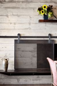 New Photo sliding Fireplace Screen Tips Learn how to make a barn door style fireplace screen without welding! This DIY sliding fireplace sc Metal Fireplace, Freestanding Fireplace, Small Fireplace, Concrete Fireplace, Fireplace Screens, Modern Fireplace, Fireplace Ideas, Fireplace Candles, Shiplap Fireplace