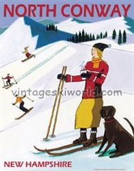 north conway posters | North Conway New Hampshire Vintage Art Deco Ski Poster