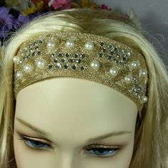 Goldy ...  gold, crystal and pearl headband ... FREE shipping worldwide by TessHarrissDesigns on Etsy