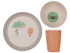 Up, Up and Away Bamboo Dinnerware Set