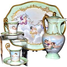 Limoges Spectacular Chocolate Set with Cherubs and Heavy Gold Embellishments