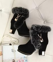 Load image into Gallery viewer, Gilded Square Heel - Ladies Winter Fur Boots Winter Fashion Boots, Fur Fashion, Winter Boots, Chunky Boots, Fur Boots, Ankle Boots, Cute Snow Boots, Shoe Vamp, Black Toe