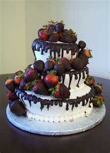 Beautiful cake! Chocolate covered strawberries are a lovely garnish, requiring no fondant or major cake decorating skills!