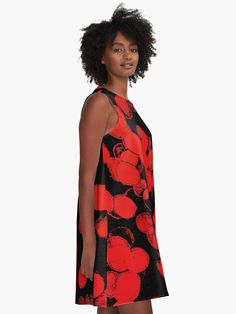 A-line Printed Dress, Red Bubbles, oversized dress, oversize tunic, loose dress, casual dress, sporty look, unique pattern straight from artists, summer design.  AD0009 - R... ➡️ http://jto.li/uLbT5