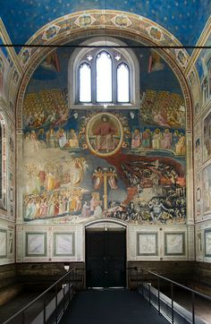 Scrovegni Chapel Last Judgement Padova frescoes by Giotto. Italy