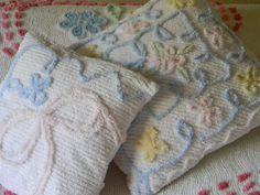 sweet pastel vintage chenille pillows